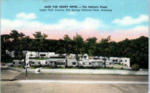 HOT SPRINGS NATIONAL PARK, AR   Roadside  Jack  Tar  COURT  HOTEL 1949  Postcard