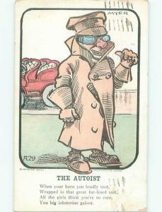 Pre-1907 Comic THE AUTOIST - MAN WITH DRIVING GLASSES AB9688