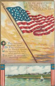 American Flag, 1900-10s; Water scene and poems