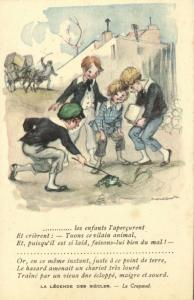 Artist Signed Poulbot, Young School Boys teasing a Frog (1920s)