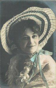 Glamour ladies head decoration early fashion postcard portrait hat