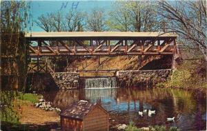Bedford New Hampshire~Covered Bridge & Mill Pond~Waterfall~Ducks~1979 Postcard
