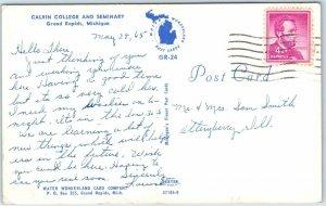 Grand Rapids, Michigan Postcard CALVIN COLLEGE AND SEMINARY Church View 1965