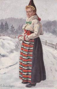 Girl , Nordiska museet. Kyrkdrakt , Rattviks socken , Dalarna , Sweden , 00-10s