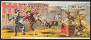 VICTORIAN TRADE CARD Hold Fast Tobacco Police Man & Dog Pulling Metamorphic