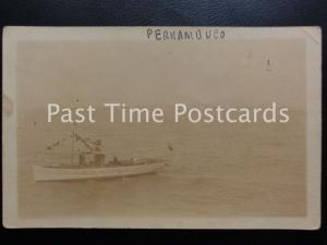 Vintage RPPC - Peruambuco - Brazil - showing steam boat