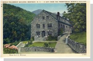 Montreat, NC Postcard, World Fellowship Building Near, Mint!