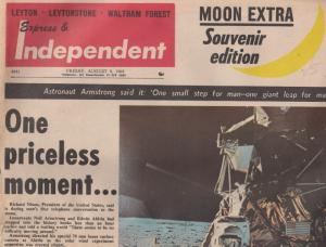 Leytonstone Waltham Forest Neil Armstrong NASA Moon Landing Newspaper