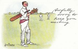 Lance Thackeray Awfully Sorry 1970s Cricket Comic Humour Postcard
