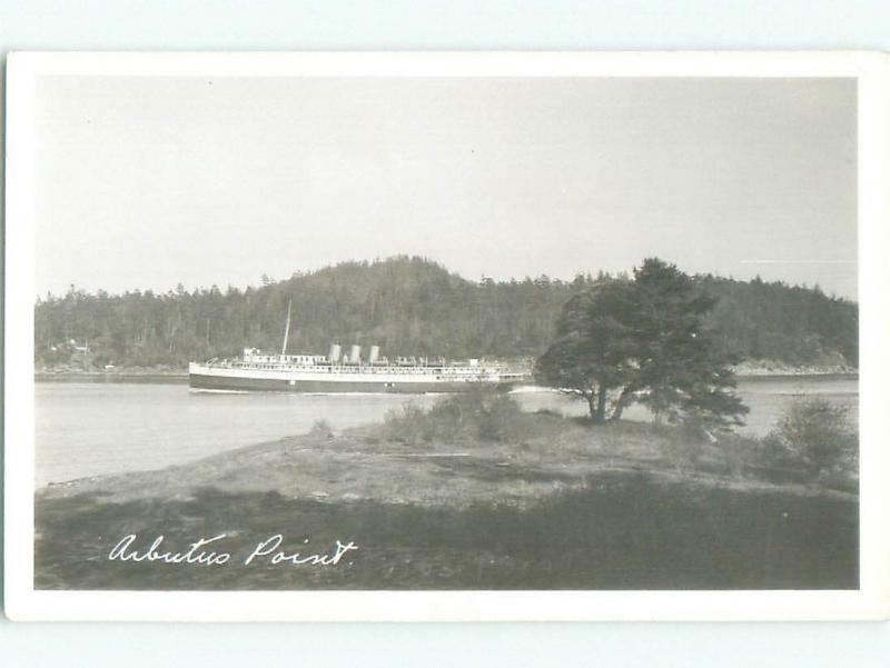 Pre-1939 rppc ARBUTUS POINT Long Harbour On Vancouver Island BC W0994