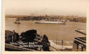 Sydney Harbour HMS Monteray Ship NSW Australia Real Photo RPPC postcard