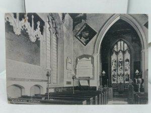 Vintage Antique Postcard Everleigh Church Interior Unposted Wiltshire