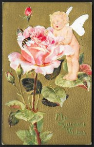 My Sincerest Wishes Cupid Roses & Bee Used c1910s