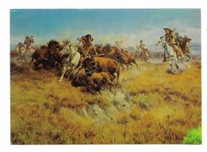 Charles Marion Russell Running Buffalo Vtg Western Postcard