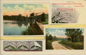 Roads to Trout Lake and Zoo - Seneca Park NY, Rochester, New York - pm 1910 - DB