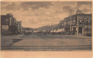 LPS74 Cherryvale Kansas West Main Street Town View Postcard