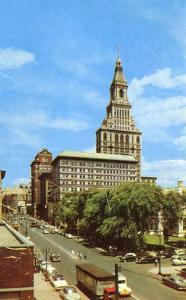CT - Hartford, Main Street & The Travelers Tower, 1950's