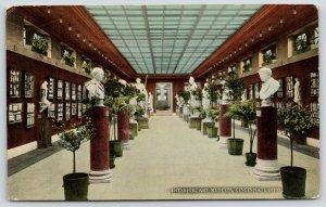 Cincinnati Ohio~Art Museum Interior~Statues~Busts on Pillars~c1910 Postcard