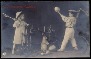Happy Easter Children Badminton Rabbit RPPC unused c1909