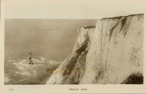 C-1912 Beachy Head England RPPC: Lighthouse Stands Near Cornish Granite Cliffs