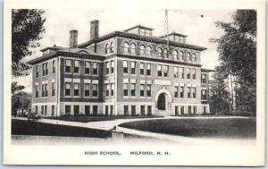 Milford, New Hampshire Postcard HIGH SCHOOL Building Front View Albertype c1930s