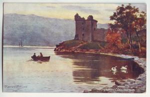 P885 old art card signed urquhart castle, caledonia canal scotland view