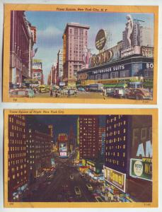 P892 2 old linen cards cars buses traffic many signs time square new york city