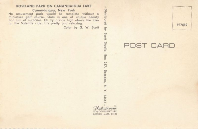 Canandaigua NY, New York - Roseland Amusement Park - Miniature Golf and Skyride