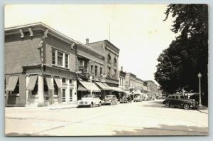 Wisconsin~West Maple Street~A&P Grocery Store~State Bank~1940s Cars~RPPC