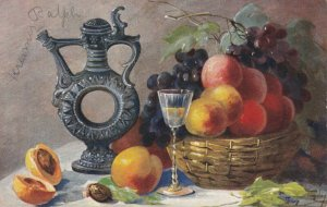 AS: MARY GOLAY, PU-1907; Still Life, Basket of peaches & grapes, Wine decanter