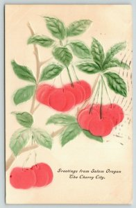 Greetings from Salem Oregon~The Cherry City Fair is Dandy~Embossed Fruit~1908
