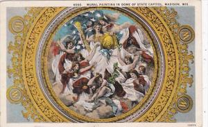Wisconsin Madison Mural Painting In Dome Of State Capitol Curteich