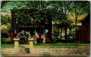 1912 Cumberland, Maryland Postcard ALLEGANY Hospital Building / Street View