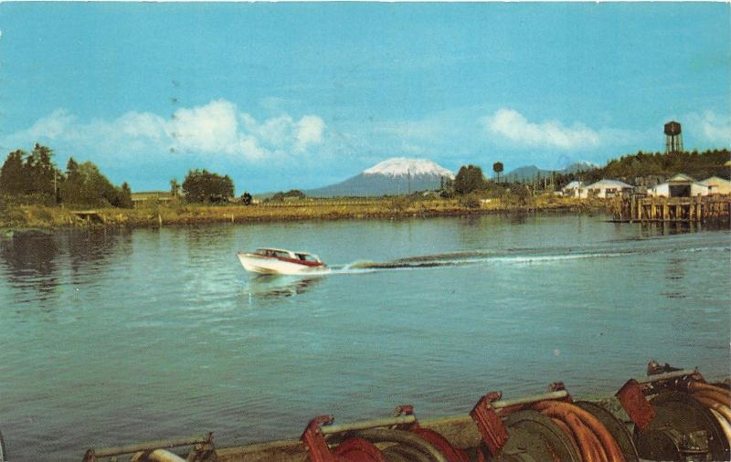 Sitka Alaska~Harbor Scene~Boat in Water~Mt Edgecomb in Bkgd~1975 Postcard