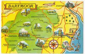 Devon; Dartmoor Map PPC Unposted, c 1960's, Okehampton, Tawton, Lydford, Dawlish