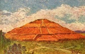 Mexico - Cholula, The Great Pyramid of Cholula   Artist Signed: Folfe