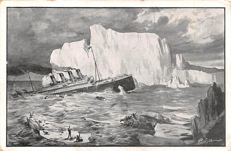Titanic Ship Post Card Old Vintage Antique Zum Untergang des Dampfers Titanic...