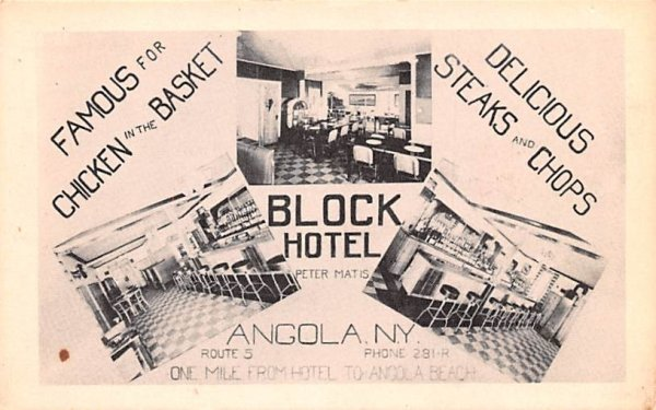 Block Hotel Angola, New York Postcard