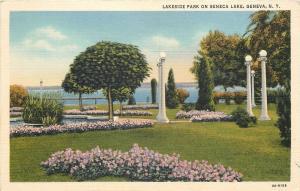 Geneva New York~Lakeside Park on Seneca Lake~Globe Lamp Posts~1934 Linen PC