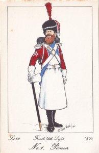 French 15th Light Regiment Pioneer Napoleonic War Soldier 1811 PB Postcard