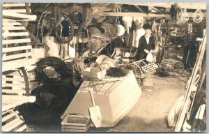 MAINE LOBSTER FISHERMAN'S WORKSHOP ANTIQUE REAL PHOTO POSTCARD RPPC
