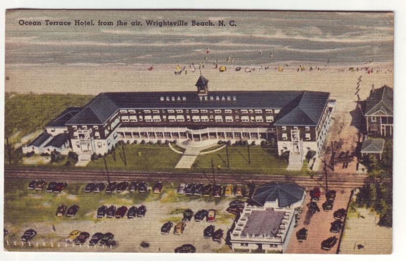 PC39 JLs old linen postcard air view wrightsville beach nc