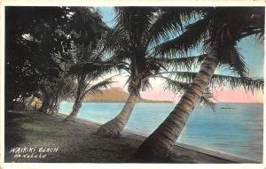 Honolulu HI  Waikiki Beach Tinted Real Photo RPPC Postcard