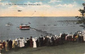 Muskegon Michigan Country Club Scenic View Antique Postcard J70118