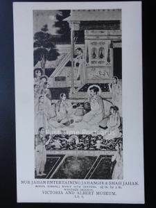 India: Nur Jahan Entertaining Jahangir & Shahjahan, Mogul School,  Old Postcard