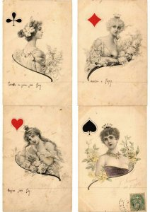 CARD GAMES JEUX DE CARTES PLAYING CARDS GLAMOUR 13 CPA  (L2596)