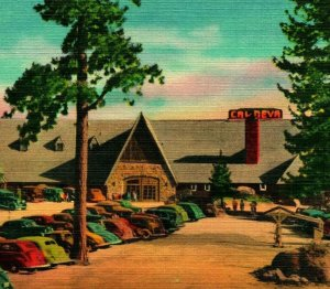 Cal-Neva Lodge Exteror Aparcamiento Lote Lago Tahoe Nevada Nv Unp Vtg Lino