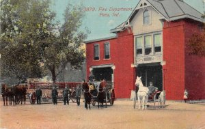 Peru Indiana Fire Department Vintage Postcard AA10925