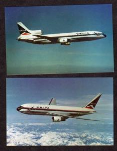 Lot 2 DELTA Airplanes Planes Airlines Boeing 767 &  Lockheed Tristar Postcards
