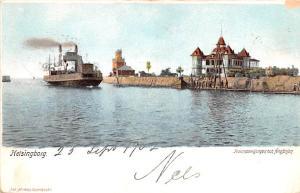 Sweden Old Vintage Antique Post Card Hamnpvijongen och Angfarjan Helsingborg ...